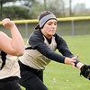 Don Knight | The Herald Bulletin<br /> Madison-Grant's Maggie Havens catches a foul ball as the Argylls hosted the Frankton Eagles on Thursday.