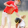 Don Knight | The Herald Bulletin<br /> Frankton's Landon Weins tags Daleville's Ryan Hale out at second base as the Broncos hosted the Eagles on Wednesday.