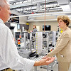 John P. Cleary |  The Herald Bulletin<br /> Jeff Heiking, a mechanical engineering professor with Purdue, explains to Rep. Susan Brooks how they use this SMC training HAS-200 system in their mechatronics lab during her tour of the Purdue Polytechnic facility Monday.