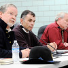 Don Knight | The Herald Bulletin<br /> From left, former Indiana Rep. John F. Barnes, Anderson University history professor Brian R. Dirck and AFT president G. Randall Harrison participate in a Civil War panel at ACSC on Wednesday.