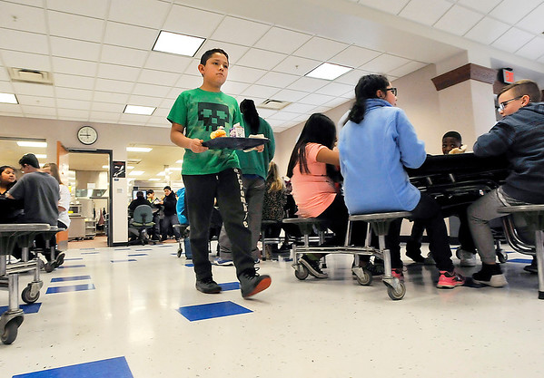 John P. Cleary    The Herald Bulletin<br /> When Anderson Elementary students came back from spring break they were greeted by a new tile floor in the school cafeteria replacing the old carpeting that had covered the area.