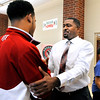 John P. Cleary |  The Herald Bulletin<br /> Anderson High School held a meet-and-greet for their new boys basketball coach Mike Elliott Monday evening for fans to better get to know the new head coach.