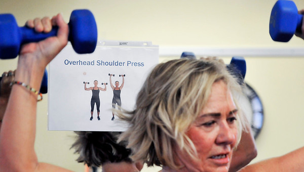 John P. Cleary | The Herald Bulletin<br /> There are 11 workout stations, each having a sign showing the proper method of doing the exercise.