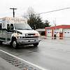 Don Knight | The Herald Bulletin<br /> A pair of Pipe Creek ambulances pass Pipe Creek Station One as they return the bodies of fallen firefighters Kyle Hibst and David Wittkamper to Elwood as part of a procession that included agencies from around the county on Tuesday.