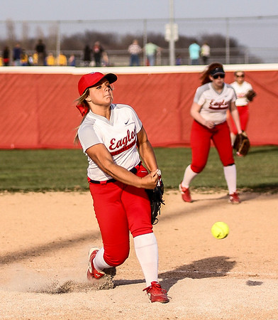 Chris Martin | For The Herald Bulletin.<br /> Frankton's Aleyah Rastetter pitches against Pendleton Thurday night at home in the County Tournament.