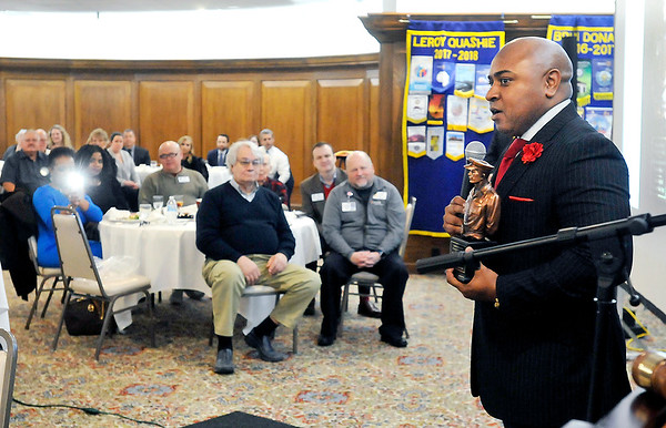 John P. Cleary | The Herald Bulletin  <br /> Anderson Police detective Norman Rayford addresses the Anderson Rotary Club Tuesday after being named Madison County Prosecutor's Office 2017 Law Enforcement Officer of the Year.