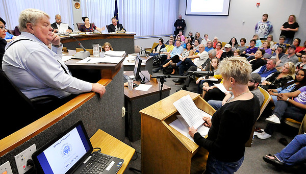 John P. Cleary | The Herald Bulletin  <br /> Maleah Stringer, director of the Animal Protection League, addresses the Anderson City Council Thursday evening on a ordinance to tighten restrictions to the animal control ordinance that was introduced.