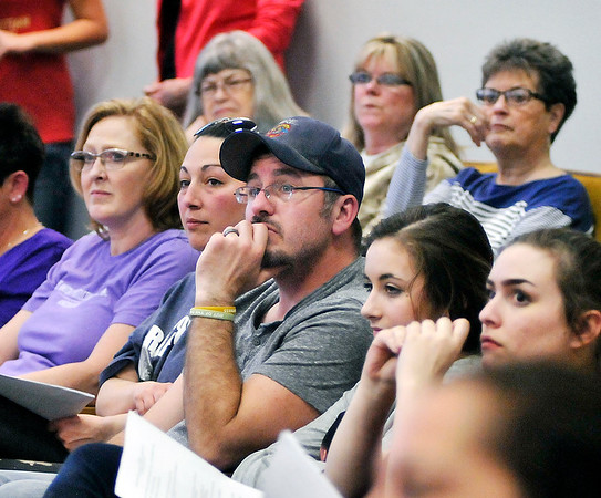 John P. Cleary | The Herald Bulletin  <br /> A large crowd turned out for the Anderson City Council meeting Thursday where a ordinance to tighten restrictions to the animal control ordinance was introduced.