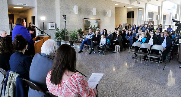 John P. Cleary | The Herald Bulletin  <br /> Annette Craycraft, of CASA, addresses those gathered for the kickoff of National Child Abuse Prevention Month at the Anderson City Building.