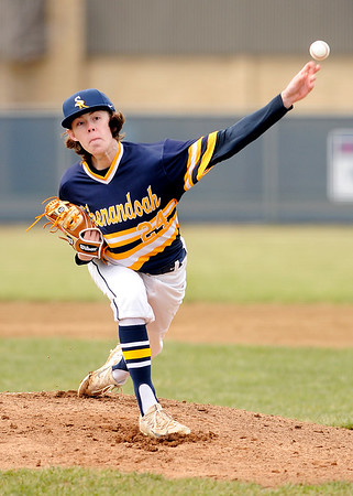 Don Knight | The Herald Bulletin<br /> Shenandoah senior pitcher Sy Stanley pitches against Union County on Saturday.