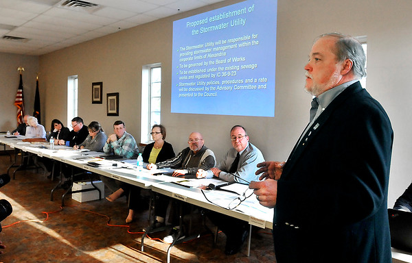 John P. Cleary | The Herald Bulletin<br /> Randy Hamilton, Alexandria storm water consultant, gives his storm water presentation to the City Council and residents at the council meeting Monday evening.