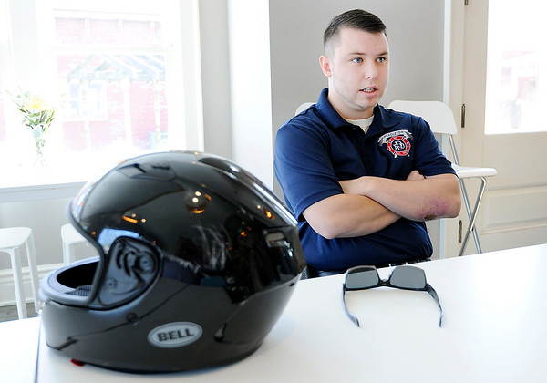 Don Knight | The Herald Bulletin<br /> Hunter Barger talks about his motorcycle accident during an interview at Falls Perk on Friday. He credits his helmet for limiting the severity of his injuries.