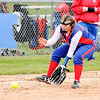 Don Knight | The Herald Bulletin<br /> Elwood's Alli Johnson fields the ball as the Panthers hosted the Jay County Patriots on Friday.