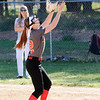 Don Knight | The Herald Bulletin<br /> Liberty Christian's Alayna Thomas catches a fly ball as the Lions hosted the Anderson Indians on Friday.