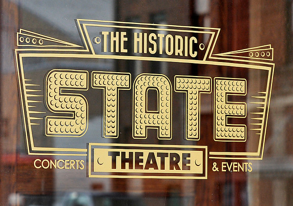 John P. Cleary   The Herald Bulletin  <br /> The new logos on the doors of the State Theatre.