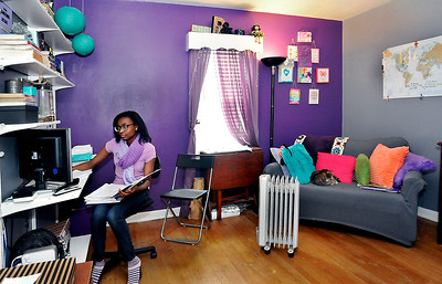 John P. Cleary   The Herald Bulletin Indiana Virtual School student Rhyann Edwards does her school work from her bedroom.
