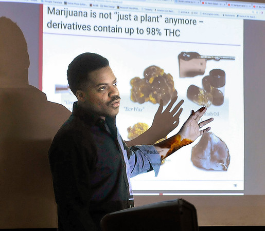 John P. Cleary   The Herald Bulletin  <br /> Will Jones, from SAM (Smart Approaches to Marijuana), gives a training presentation to Intersect, Inc. Friday.