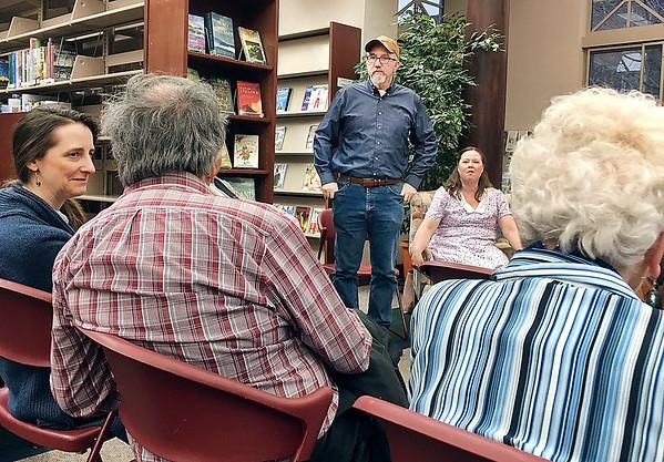 "Rebecca Bibbs   The Herald Bulletin<br /> ""To Kill a Mockingbird"" director Bill Smith talks at one of the public forums last week."