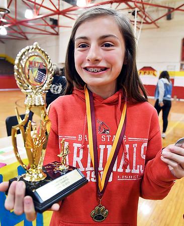 John P. Cleary   The Herald Bulletin <br /> Alexandria Intermediate School sixth-grader Jacklynn Hosier won the annual Multiplication Championship of Alexandria All Stars for the second year on a row.