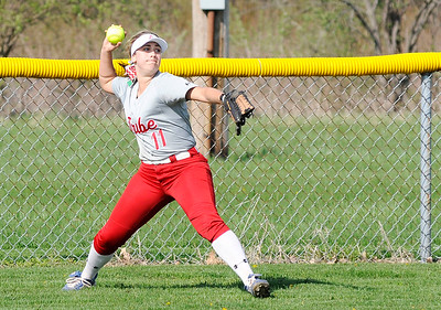 Don Knight   The Herald Bulletin Anderson's Kerrigan Huffman throws the ball in from the outfield as the Lady Tribe hosted Frankton on Wednesday.
