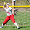 Don Knight | The Herald Bulletin<br /> Anderson's Kerrigan Huffman throws the ball in from the outfield as the Lady Tribe hosted Frankton on Wednesday.