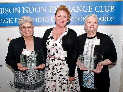 Mark Maynard | For The Herald Bulletin Liberty Christian Junior/Senior High School's Mary Lee Douramacos (left) and MaryBeth Brockley of Elwood Elementary School (right), are the recipients of the Anderson Noon Exchange Club's 2019 Max Beigh Enriching Education Awards, presented by club President Shannon Terrell.