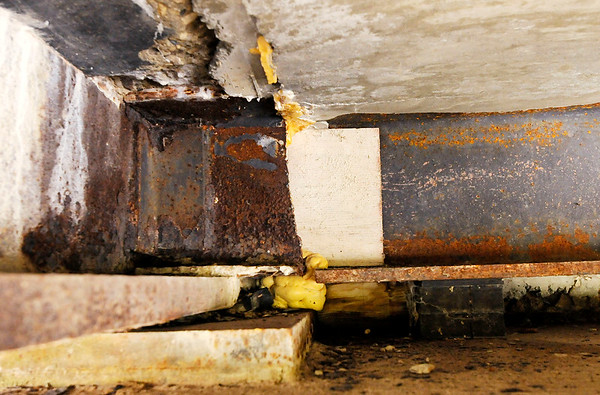 Don Knight   The Herald Bulletin<br /> A deteriorated cross beam was replaced on the bridge over Killbuck Creek on County Road 425 East.