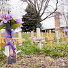 Don Knight | The Herald Bulletin<br /> Crosses placed in Citizens Plaza Park are in memory of victims of homicide or death by impaired drivers as part of Victims' Rights Week.
