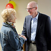 Don Knight | The Herald Bulletin<br /> Maxine Crandall talks to Dr. James Milligan during his retirement open house at St. Vincent Anderson on Friday. Crandall has worked in Otolaryngology, ear nose and throat specialist, in Anderson for 40 years and several patients turned out to thank him and wish him well in retirement.