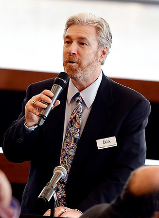 John P. Cleary | The Herald Bulletin <br /> Madison County Chamber hosts the first 2019 State of the County luncheon. Dirk Webb, President/CEO Madison County Chamber of Commerce, addresses the luncheon.