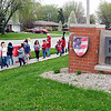 John P. Cleary | The Herald Bulletin <br /> Teachers at Erskine Elementary School rally outside in front of the school before staging a walk-in together Thursday morning in solidarity of issues before the General Assembly.