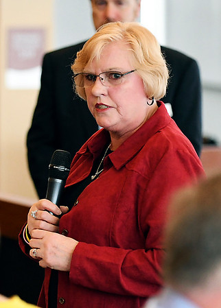 John P. Cleary | The Herald Bulletin <br /> Madison County Chamber hosts the first 2019 State of the County luncheon. Debora Wainscott, Lapel Town Council President, addresses the luncheon.