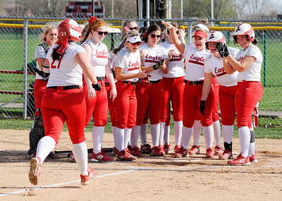 Don Knight   The Herald Bulletin Frankton's Aubrey Adiar arrives at home plate where her teammates are waiting after she hit a home run against Anderson on Wednesday.