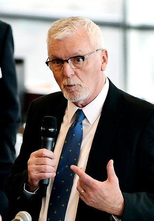 John P. Cleary | The Herald Bulletin <br /> Madison County Chamber hosts the first 2019 State of the County luncheon. Tim McClintick, Pendleton Town manager, addresses the luncheon.