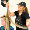 Don Knight | The Herald Bulletin<br /> Taylor Vanevenhoven styles Montannah Prewett's hair for APA's prom at Detour Salon & Style on Saturday.
