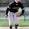 John P. Cleary | The Herald Bulletin <br /> Daleville's third baseman Ayden Wilson charges a slow bouncer in the third inning.