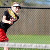 Don Knight | The Herald Bulletin<br /> Frankton's Abby Hartley returns a volley to Alexandria's Rylee Pyle in the No. 3 singles match on Friday.