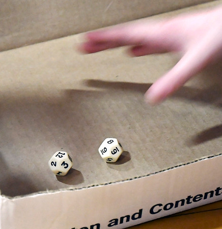 John P. Cleary | The Herald Bulletin <br /> Alexandria Intermediate School's annual multiplication tournament. Participants multiply the numbers the 12-sided dice show on a roll.