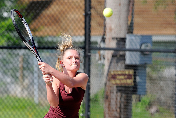 Don Knight | The Herald Bulletin<br /> Alexandria's Mackenzie Adams returns a volley to Frankton's Abby Williams in the No. 1 singles match on Friday.