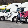 Truck driver Cijranjed Sidau, of Toronto, Canada, walks back to his rig at the Pilot Travel Center on Ind. 67 in Chesterfield after stopping for something to eat and coffee before making his delivery in Fishers Wednesday morning.