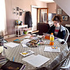 Caitlin Evans's new workspace is now her dining room table as she works from her Markleville home do to the COVID-19 crisis. Evans runs an after school program for South Madison Schools.