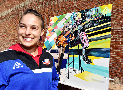 Local artist Nekoda Witsken, along with art educator Israel Solomon, created this mural depicting Indiana jazz guitarist Wes Montgomery is the first of four murals featuring Black cultural icons celebrating unity. The mural will be on display at Diclmann Town Center through mid-May.
