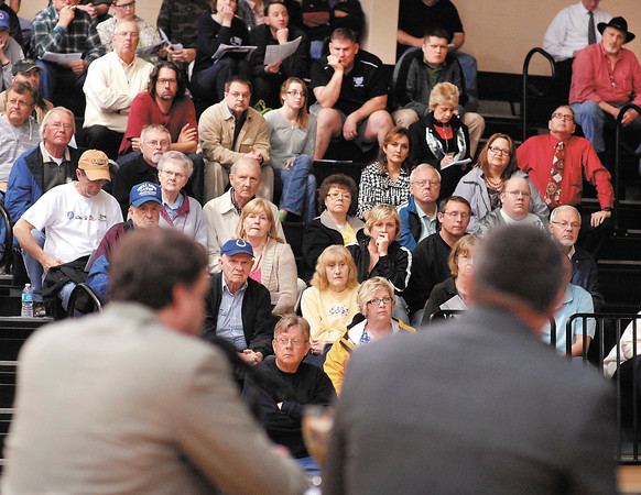 A large crowd listened intently to the panelists as they discussed the issues around the proposed Mounds Lake Reservoir Tuesday evening at Daleville High School.