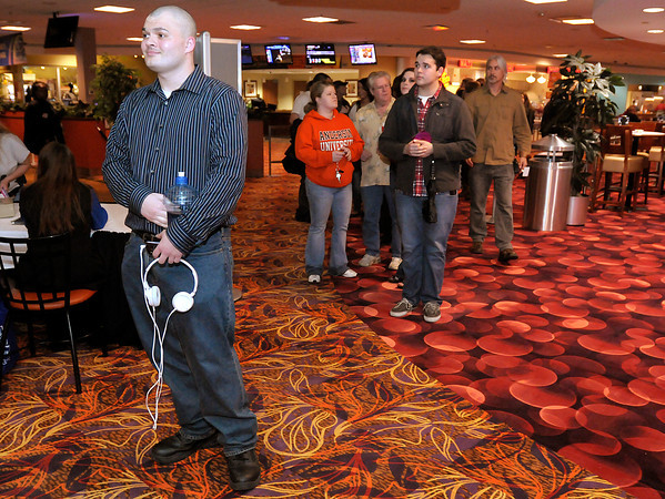 Returning competitor Adam Shockley of Muncie waits in line to compete during Hoosier Idol auditions at Hoosier Park last Thursday. To purchase this photo or other photos produced by The Herald Bulletin staff, visit heraldbulletin.smugmug.com.