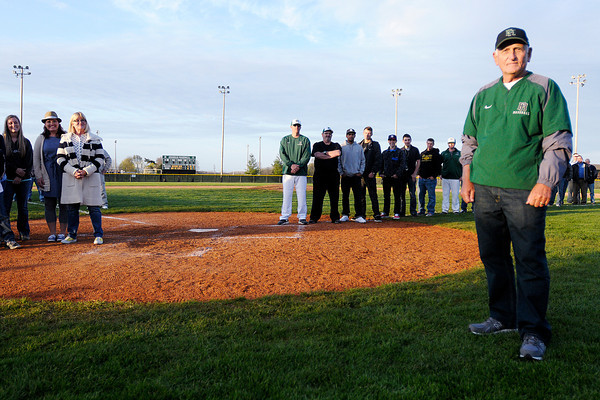 The Pendleton Heights baseball diamond was named after long time coach Bill Stoudt who led the program for 32 years on Friday. To purchase this photo or other photos produced by The Herald Bulletin staff, visit heraldbulletin.smugmug.com.