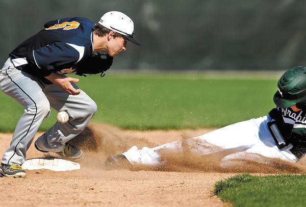 Shenandoah's second baseman Collin Casstevens drops the ball as Pendleton's  Noah Etchison slides into the bag for a stolen base in the second inning of their baseball game Monday.