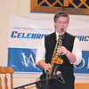 Luke Stafford performs on his saxophone during the Easter service at Celebration Church.