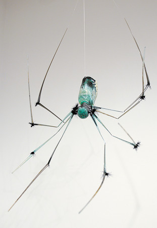 """Stephanie Cochran's glass sculpture """"Facing Fears"""" hangs in the Anderson University student art exhibit."""