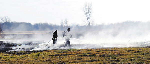 Firefighters from numerous area departments responded to a 30-acre field fire Wednesday afternoon at county roads 450 East and 150 South in Chesterfield.