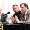 Mounds Lake panelist Jonathon LaTurner, right, answers a question as fellow panelists Jim Bittner, and Chad Pigg listen.